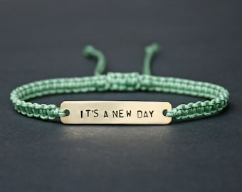 It's a New Day Sterling Silver or Brass and Macramé Bracelet, Choice Of Colours Available