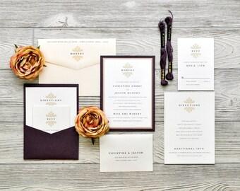 THE CHRISTINA + JASPER - classic damask wedding invitation - personalized wedding invitation - diy - digital + deposit + sample
