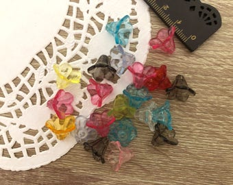50 x transparent flowers Assorted colors-Flower Plastic Acrylic beads