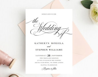 Wedding Invitations Template, Calligraphy Script Wedding Invitations Templates, DIY Wedding Invitations, Classic Elegant Wedding Invitations