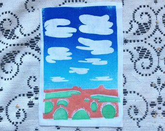 Farmington Original Block Print Desert Sky Sew On Patch