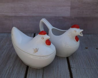 Rooster Cream and Sugar Bowl Set