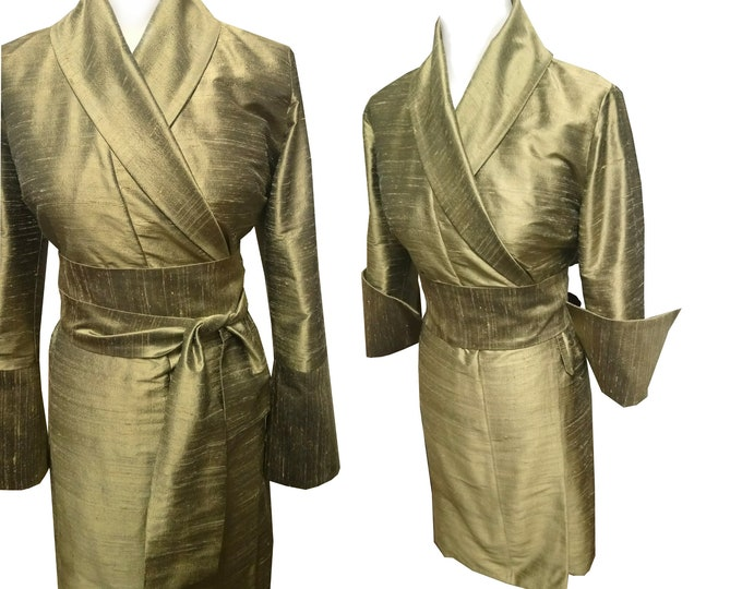 OLIVGOLD colored  silkdress shantung kimono style wrapdress threequarter OBI
