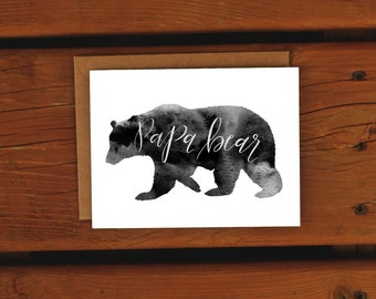 Papa Bear Northern Watercolor | Outdoors Father's Day Card | Handpainted Watercolor | Dad Card | Handmade Greeting Card