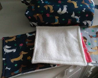 Nappy bag with coordinating reusable wipes,