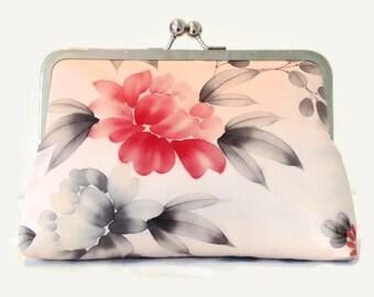 Floral Silk Clutch Purse, Pink Clutch Bag, Bridesmaid Clutch Purse, Bridal Clutch Purse, Pink Kiss Lock Purse, Frame Purse, Bridal Bag