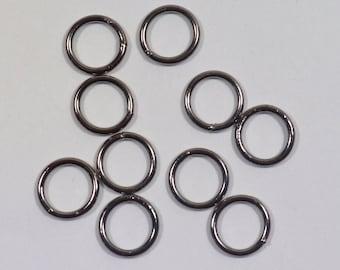 8mm Closed Jump Rings - Gunmetal - Choose Your Quantity