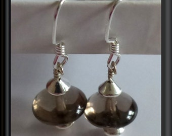 """Smoky Topaz and Sterling Silver Earrings -- Classic, """"go with anything"""" gift!"""