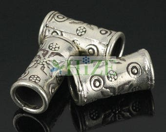 HIZE SB111 Thai Karen Hill Tribe Silver Drum Cylinder Large Hole Tube Beads 8mm (4)