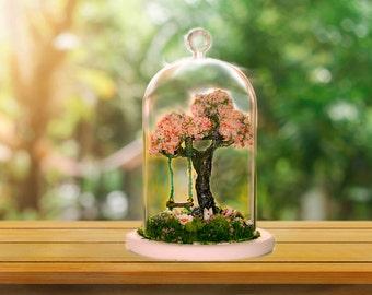 Terrarium, Terrarium kits, Cherry Blossom Terrarium, Moss terrarium, glass dome terrarium, Fairy garden, fairy garden accessories, Fairies,