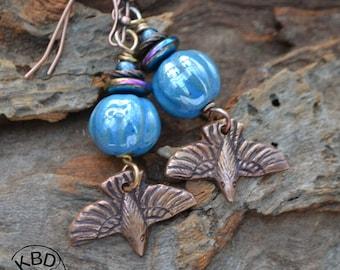 Flying High, Copper and Kazuri Bead Earrings