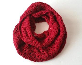 Burgundy Crochet Cowl - Crochet Cowl Scarf - Cowl Infinity Scarf - Infinity Scarf - Winter Cowl - Cowl Scarf - Red Neck Warmer - Women Cowl