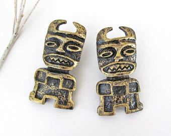 Tribal Mask Earrings, Vintage Costume Jewelry, African Mask Earrings, Unique Exotic Bohemian Ethnic Tribal Jewelry, Tribal African Earrings