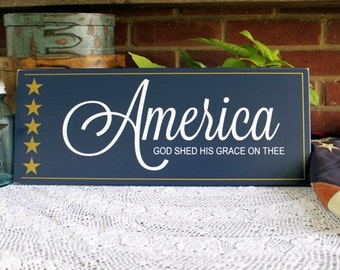 Wood Sign Patriotic America Wall Decor 4th of July