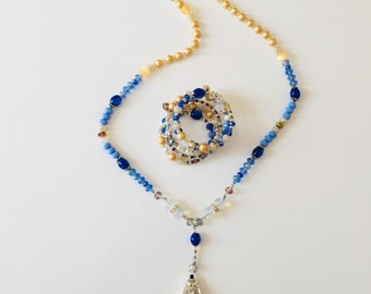 "Blue beaded summer necklace with a silk tassel ""Mykonos dream"""