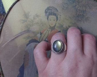 Enchanted Spring Sale 20% off Angelic Golden Labradorite Sterling Vintage Ring Sz 8.5