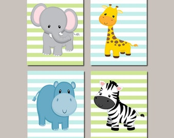 Safari Nursery Wall Art, Prints Or Canvas, Boy Nursery Pictures, Jungle Animals, Safari Prints, Zoo Animals, Aqua Blue Set of 4 Prints