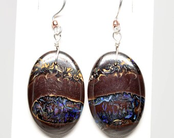 Koroit Boulder Opal Oval Earrings