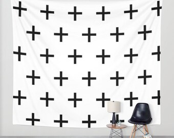 Swiss Cross Wall Tapestry, Dorm Decor, Black and White Tapestry, Horizontal Wall Art, Black and White Wall Decor, Modern Wall Art, Gifts