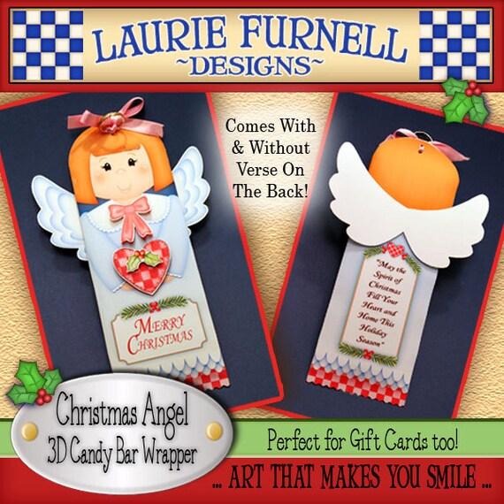 Christmas Angel 3D Candy Bar Wrapper