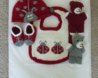 Knit Ladybug Baby Set in Red, White, and Gray