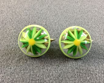 Signed Marvella Green 1960's Mod Plastic Clip Earrings. Free shipping