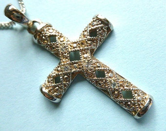 GOLD & SILVER Twotone Cross Pendant, Marcasite Cross with Rhinestones, Vintage Cross and Neck Chain, Silver Cross Necklace, Openwork Metal