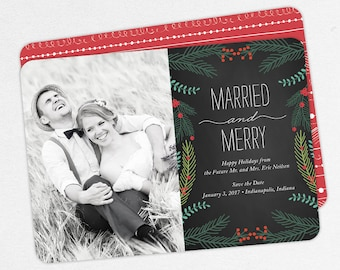 Married and Merry Christmas Cards, Newlywed Christmas Cards, Newlywed Holiday Cards, Wedding Christmas Cards, First Christmas Cards, DIY