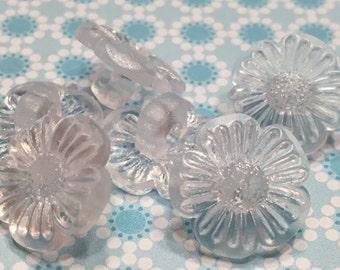 6 botones de flor translúcido, 15 mm (37)