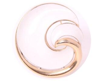 vintage Crown Trifari enamel pin brooch modernist gold tone metal abstract swirl design mid century modern jewelry gift