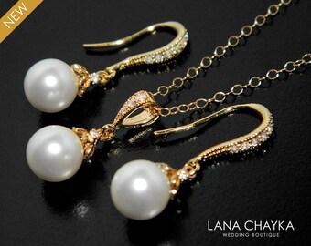 Bridal Pearl Jewelry Set White Pearl Gold Earrings&Necklace Set Swarovski 8mm Pearl Wedding Set Drop Pearl Jewelry Set Bridesmaids Jewelry