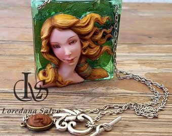 """Necklace with ooak decoration """"Venus"""" necklace in clay polylimer on resin"""