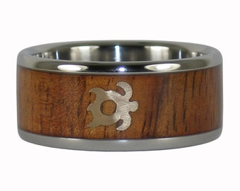 Fire Koa Wood Ring with Gold Turtle