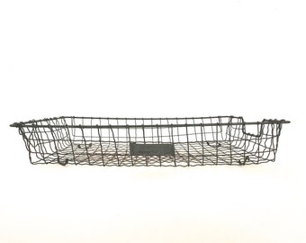 Vintage wire tray, industrial metal paper organizer, in out tray, office tray, metal basket, mid century office decor