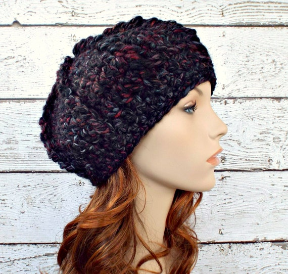 Crochet Hat Womens Hat - Oversized Monarch Ribbed Beret in Blackstone Black Maroon Charcoal Grey Crochet Hat - Womens Accessories