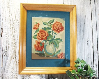 Paint by Number Roses in Oak Frame, Vintage PBN