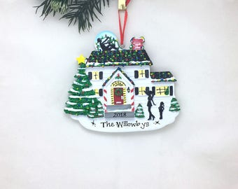 Hanging the Lights Personalized Christmas Ornament / Home Ornament / Our First Home / New House / Family Ornament / Christmas Lights