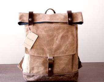 Backpack No.1 in Tan Waxed canvas