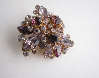 Jean Roger brooch high fashion purple rhinestone. 1950's rare.