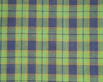 Plaid Material | Cotton Material |Homespun Material Cotton Navy And Green Plaid  Material | Sewing Material | Rag Quilt Material