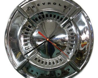 1961 - 1962 Chevrolet Impala Bel Air Hubcap Clock - Chevy Classic Car Wall Clock