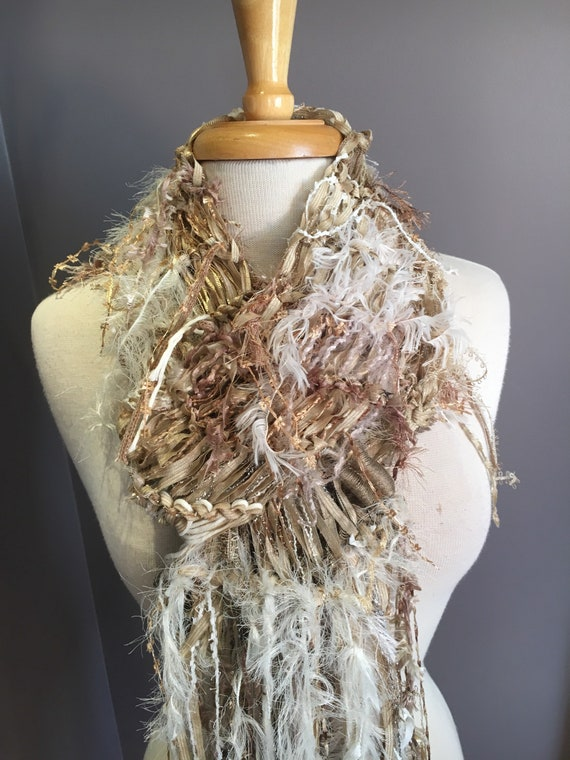 Fringed knit lightweight artwear Scarf, 'Ivory Coast', Dumpster Diva, Knit Fringed ivory tan grey wide Scarf, bohemian fashion, spring scarf