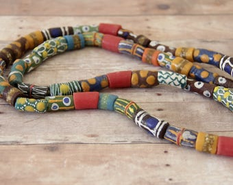 Long Strand of Mixed Design African Sandcast Tube Beads - ASC-T-137