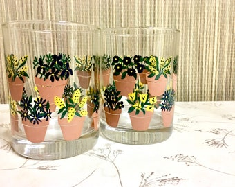 Houseplant Potted Plant Glasses, Vintage Drinking Glasses, Pair. Bohemian Home.