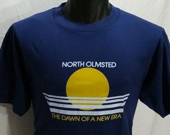 Vintage North Olmstead DAWN Of A NEW ERA T Shirt Nos Vtg 70s Hanes Xl Tee Cleveland Ohio punk/Grunge/Rocker/tshirt