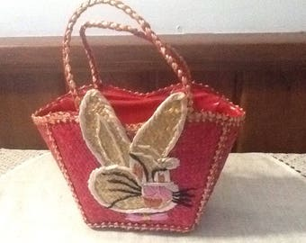 Vintage, Raffia, Easter Purse, Easter Basket, Easter Decor, Scarlet with Bunny Face