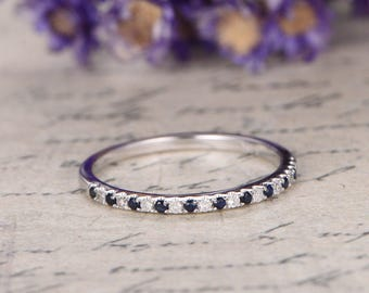 18K White Gold Blue sapphire Wedding Band and diamond,Half Eternity Engagement Ring,stackable band,custom made fine jewelry,pave set