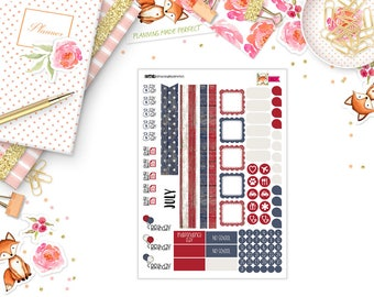 July 2018 (patriotic theme) Planner Stickers for your A5 planner (M07)