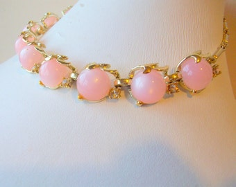 Vintage Pink Lucite  Thermoset  Moonglow  Luster  Choker Necklace by Coro 1960  FREE Shipping in USA