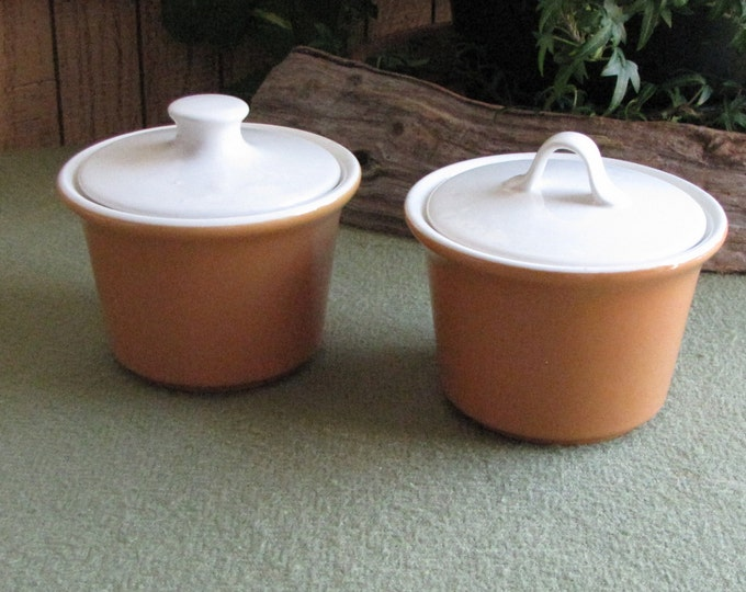 Brown and Cream Sugar Bowls Vintage Lidded Sugar Bowls Vintage Dinnerware and Replacements